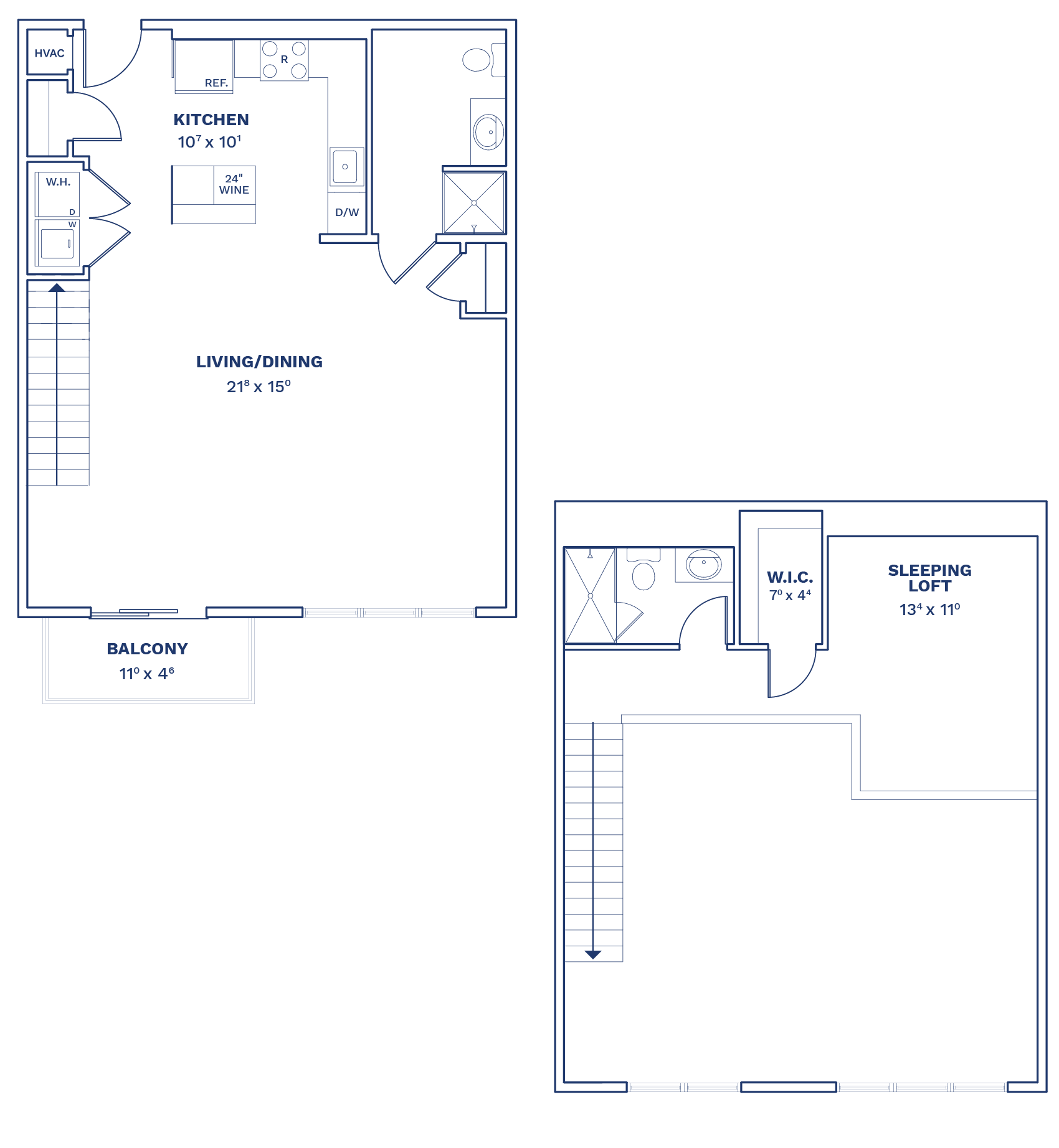 Floorplan of Unit A2.1 Loft